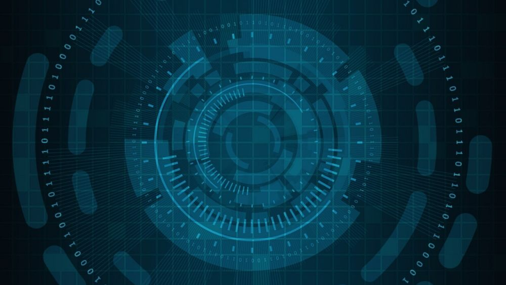 Binary Code on Blue Technology Background